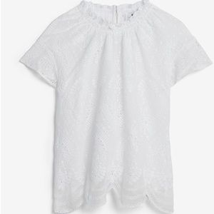 NWT Eyelet Lace Ruffle Mock Neck Top